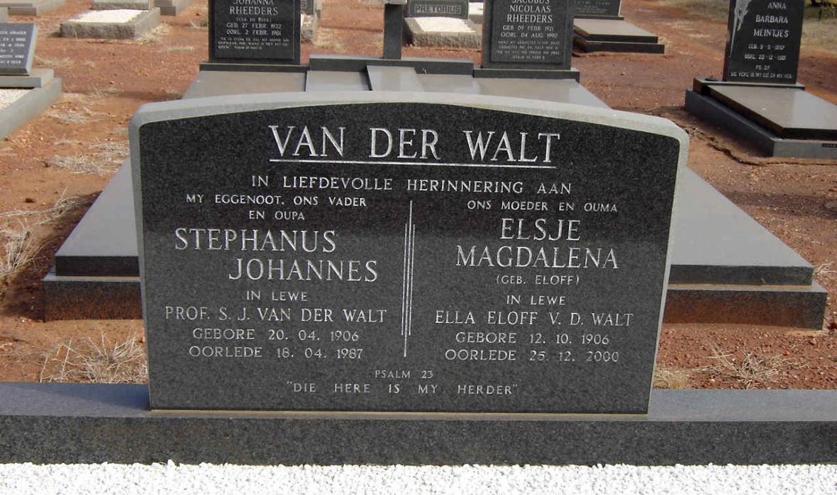 Prof_Stephanus_van_der_Walt_en_Ella_Eloff-van_der_Walt_se_grafsteen_in_die_begraafplaas_van_die_Gereformeerde_kerk_Krokodilrivier,_Pansdrift.JPG