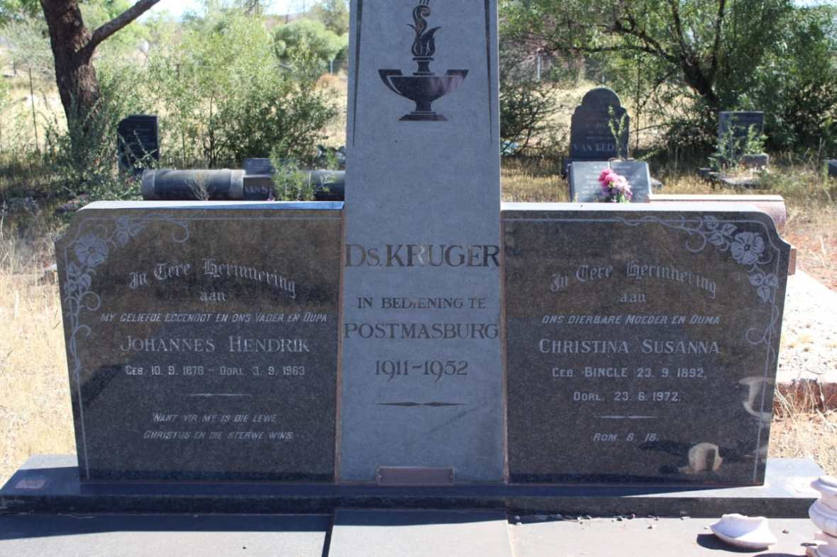Ds JH Kruger se grafsteen op Postmasburg